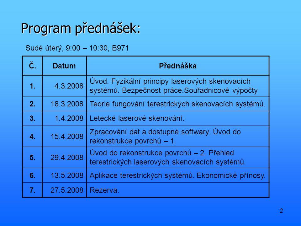 2 Program přednášek: Sudé úterý, 9:00 – 10:30, B971 Č.DatumPřednáška 1.4.3.2008 Úvod. Fyzikální principy laserových skenovacích systémů. Bezpečnost pr