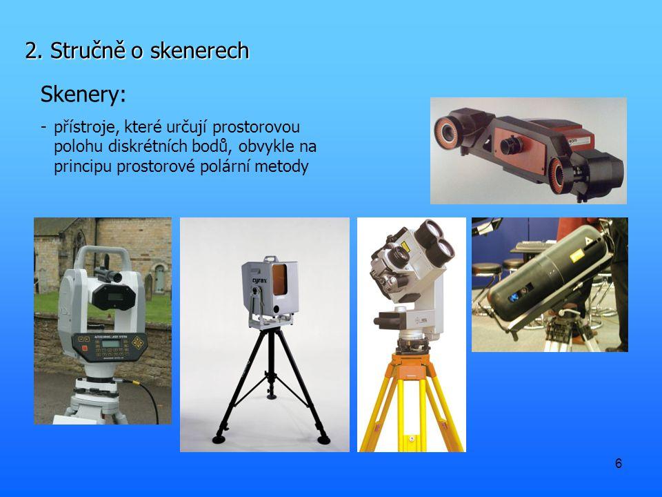 6 2. Stručně o skenerech Skenery: - přístroje, které určují prostorovou polohu diskrétních bodů, obvykle na principu prostorové polární metody