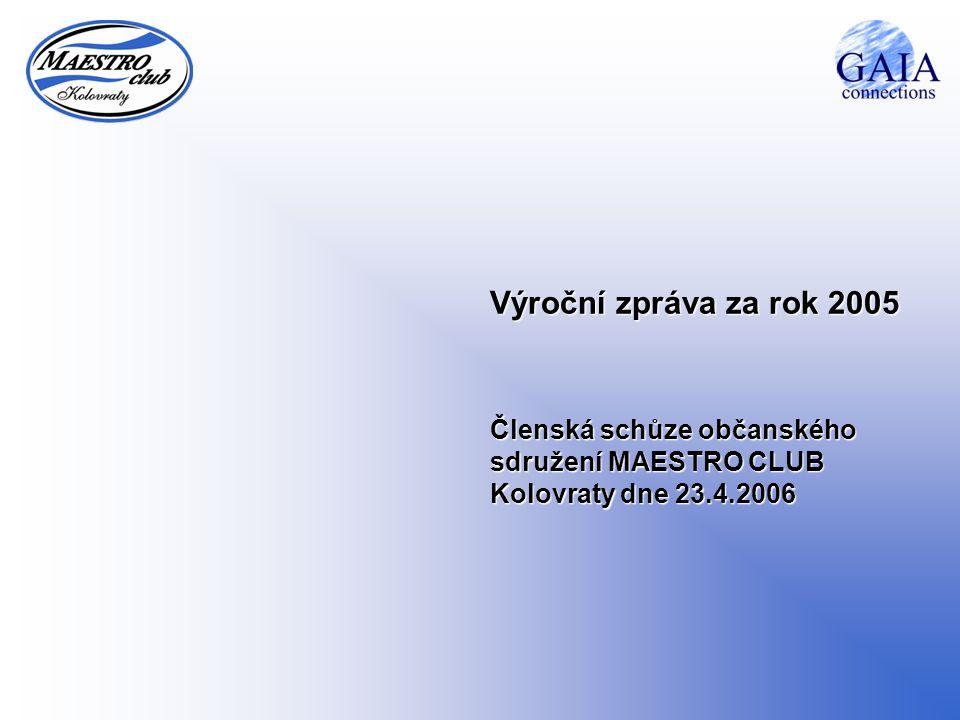 Výroční zpráva za rok 2005 Členská schůze občanského sdružení MAESTRO CLUB Kolovraty dne 23.4.2006