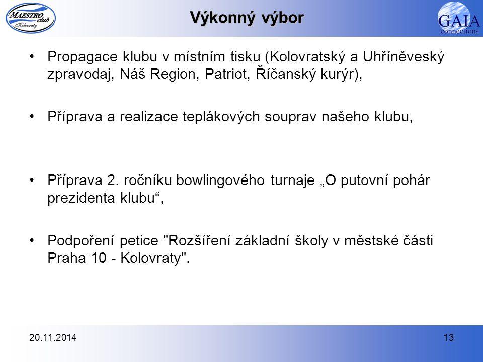 20.11.201413 Výkonný výbor Propagace klubu v místním tisku (Kolovratský a Uhříněveský zpravodaj, Náš Region, Patriot, Říčanský kurýr), Příprava a real