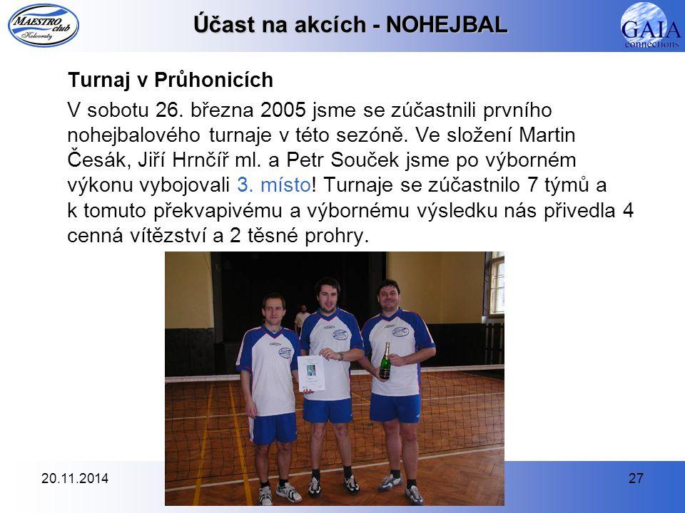 20.11.201427 Účast na akcích - NOHEJBAL Turnaj v Průhonicích V sobotu 26. března 2005 jsme se zúčastnili prvního nohejbalového turnaje v této sezóně.