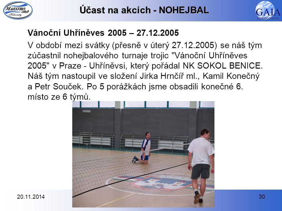 20.11.201430 Účast na akcích - NOHEJBAL Vánoční Uhříněves 2005 – 27.12.2005 V období mezi svátky (přesně v úterý 27.12.2005) se náš tým zúčastnil nohe