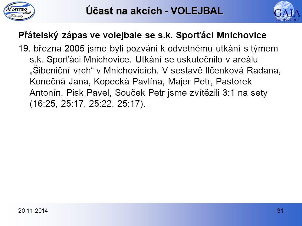 20.11.201431 Účast na akcích - VOLEJBAL Přátelský zápas ve volejbale se s.k. Sporťáci Mnichovice 19. března 2005 jsme byli pozváni k odvetnému utkání