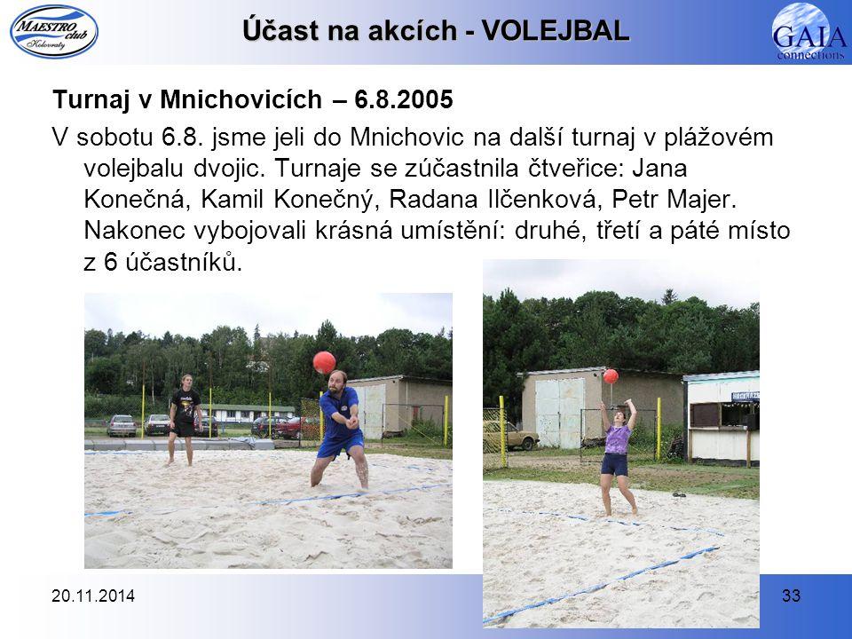 20.11.201433 Účast na akcích - VOLEJBAL Turnaj v Mnichovicích – 6.8.2005 V sobotu 6.8. jsme jeli do Mnichovic na další turnaj v plážovém volejbalu dvo