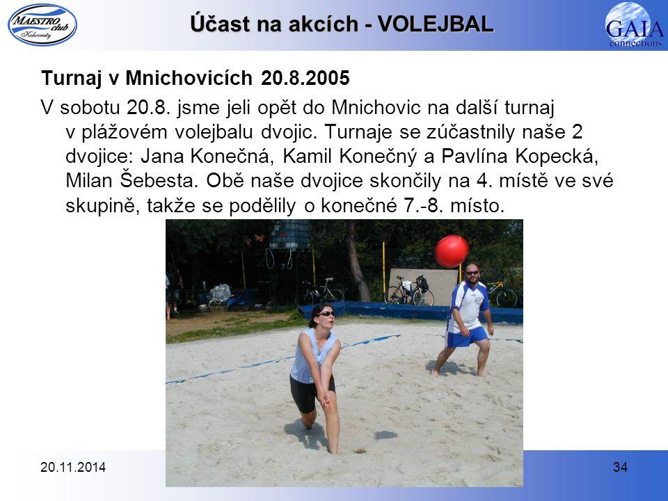 20.11.201434 Účast na akcích - VOLEJBAL Turnaj v Mnichovicích 20.8.2005 V sobotu 20.8. jsme jeli opět do Mnichovic na další turnaj v plážovém volejbal