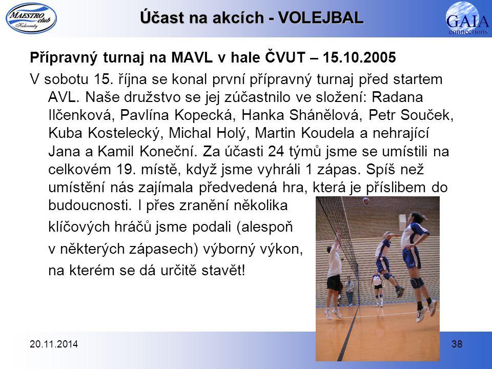 20.11.201438 Účast na akcích - VOLEJBAL Přípravný turnaj na MAVL v hale ČVUT – 15.10.2005 V sobotu 15. října se konal první přípravný turnaj před star