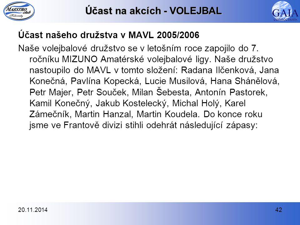 20.11.201442 Účast na akcích - VOLEJBAL Účast našeho družstva v MAVL 2005/2006 Naše volejbalové družstvo se v letošním roce zapojilo do 7. ročníku MIZ