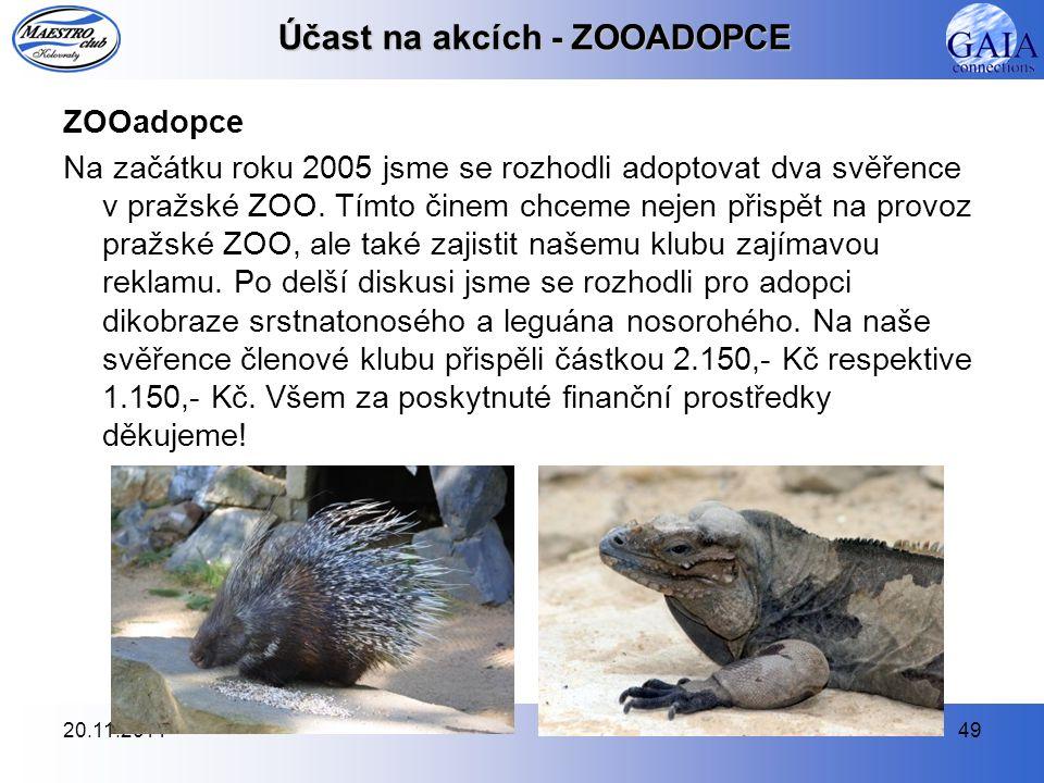 20.11.201449 Účast na akcích - ZOOADOPCE ZOOadopce Na začátku roku 2005 jsme se rozhodli adoptovat dva svěřence v pražské ZOO. Tímto činem chceme neje
