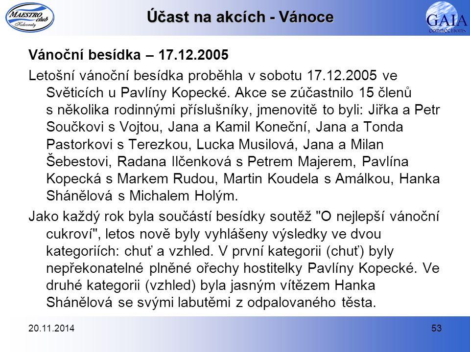 20.11.201453 Účast na akcích - Vánoce Vánoční besídka – 17.12.2005 Letošní vánoční besídka proběhla v sobotu 17.12.2005 ve Světicích u Pavlíny Kopecké