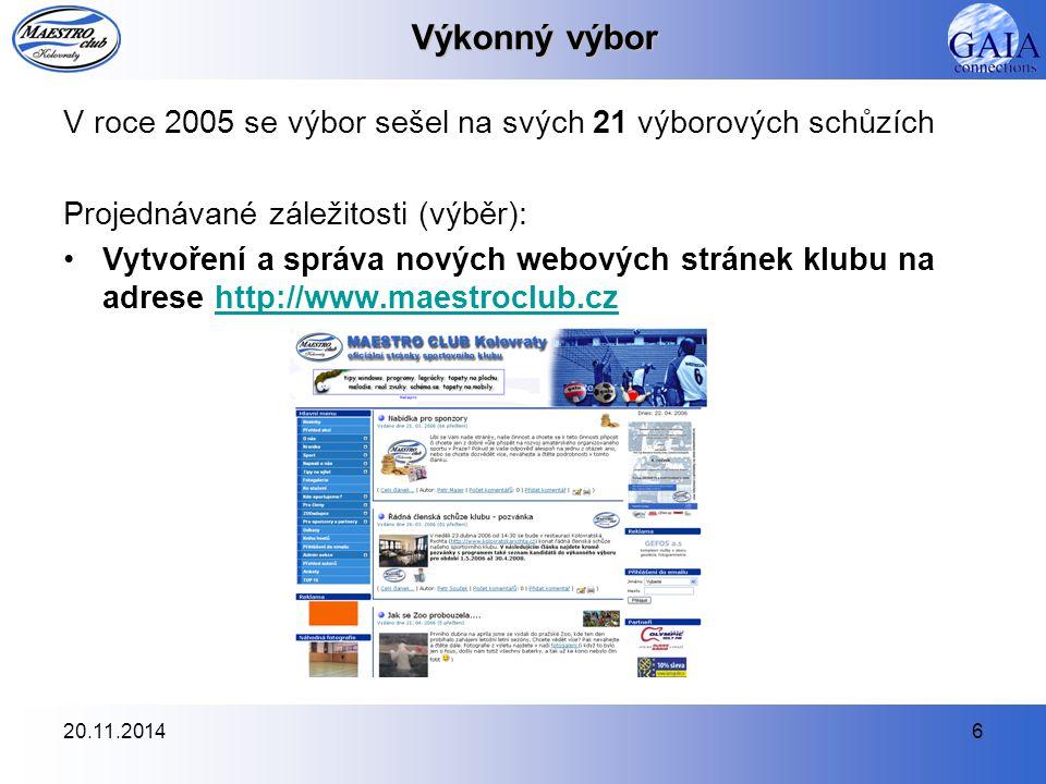 20.11.20146 Výkonný výbor V roce 2005 se výbor sešel na svých 21 výborových schůzích Projednávané záležitosti (výběr): Vytvoření a správa nových webov