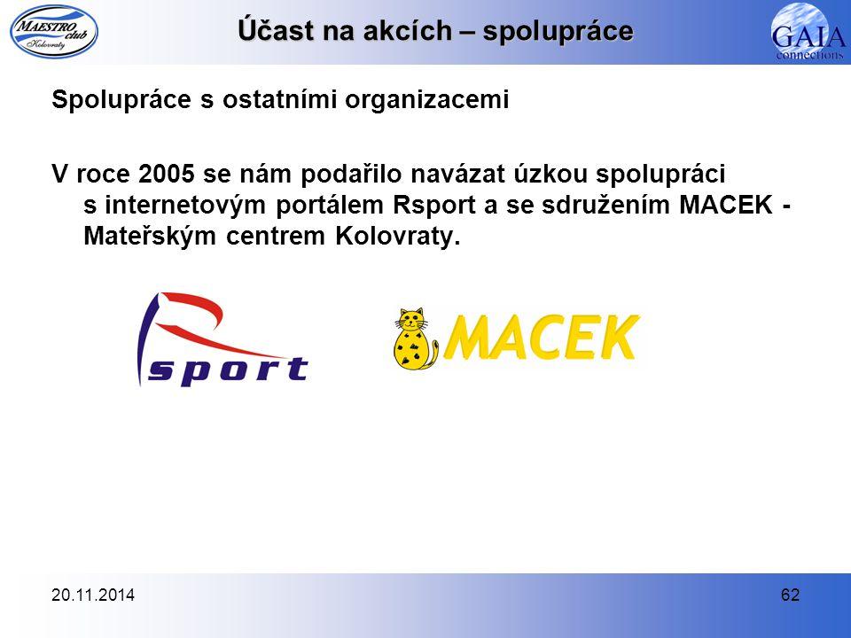 20.11.201462 Účast na akcích – spolupráce Spolupráce s ostatními organizacemi V roce 2005 se nám podařilo navázat úzkou spolupráci s internetovým port