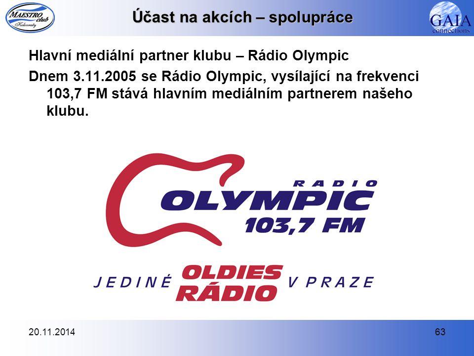 20.11.201463 Účast na akcích – spolupráce Hlavní mediální partner klubu – Rádio Olympic Dnem 3.11.2005 se Rádio Olympic, vysílající na frekvenci 103,7