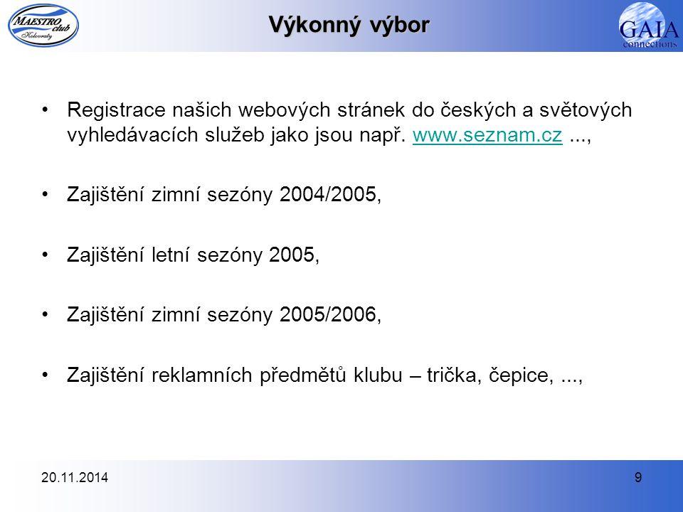 20.11.20149 Výkonný výbor Registrace našich webových stránek do českých a světových vyhledávacích služeb jako jsou např. www.seznam.cz...,www.seznam.c