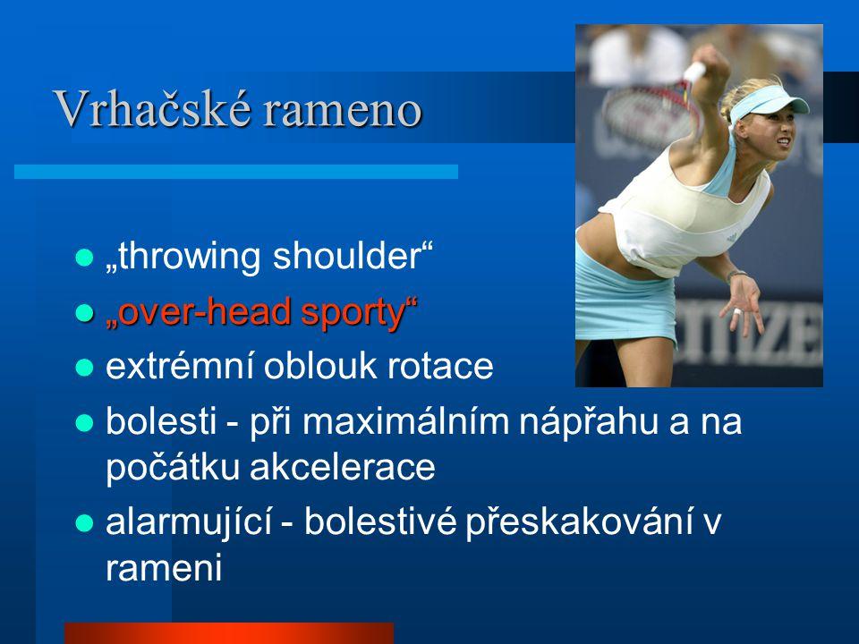 """Vrhačské rameno """"throwing shoulder"""" """"over-head sporty"""" """"over-head sporty"""" extrémní oblouk rotace bolesti - při maximálním nápřahu a na počátku akceler"""