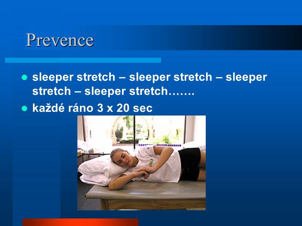 Prevence sleeper stretch – sleeper stretch – sleeper stretch – sleeper stretch……. každé ráno 3 x 20 sec