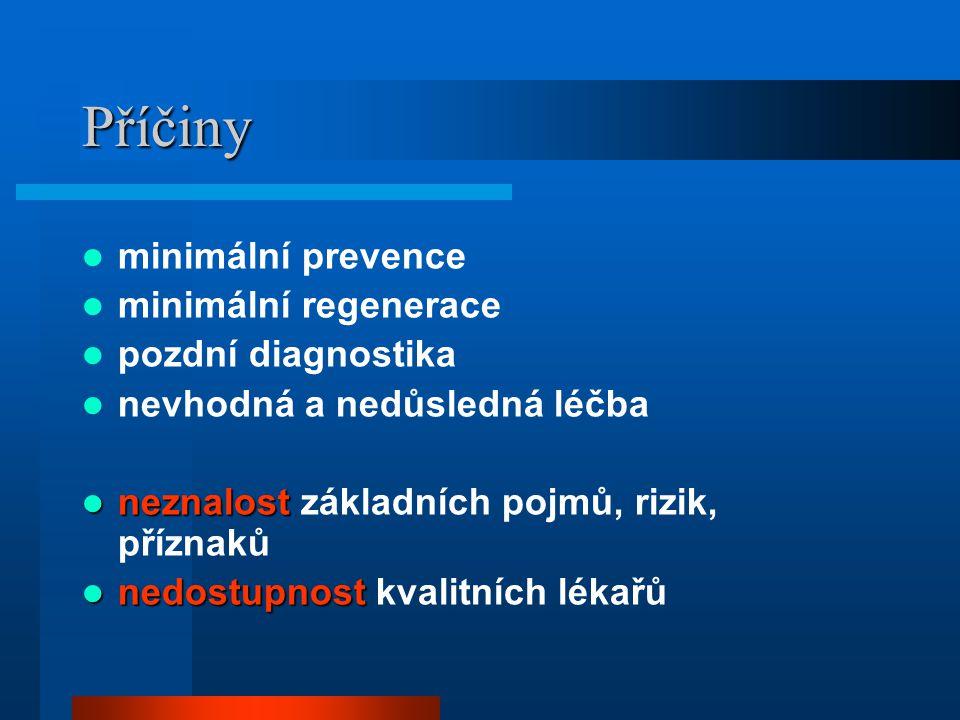 Příčiny minimální prevence minimální regenerace pozdní diagnostika nevhodná a nedůsledná léčba neznalost neznalost základních pojmů, rizik, příznaků n