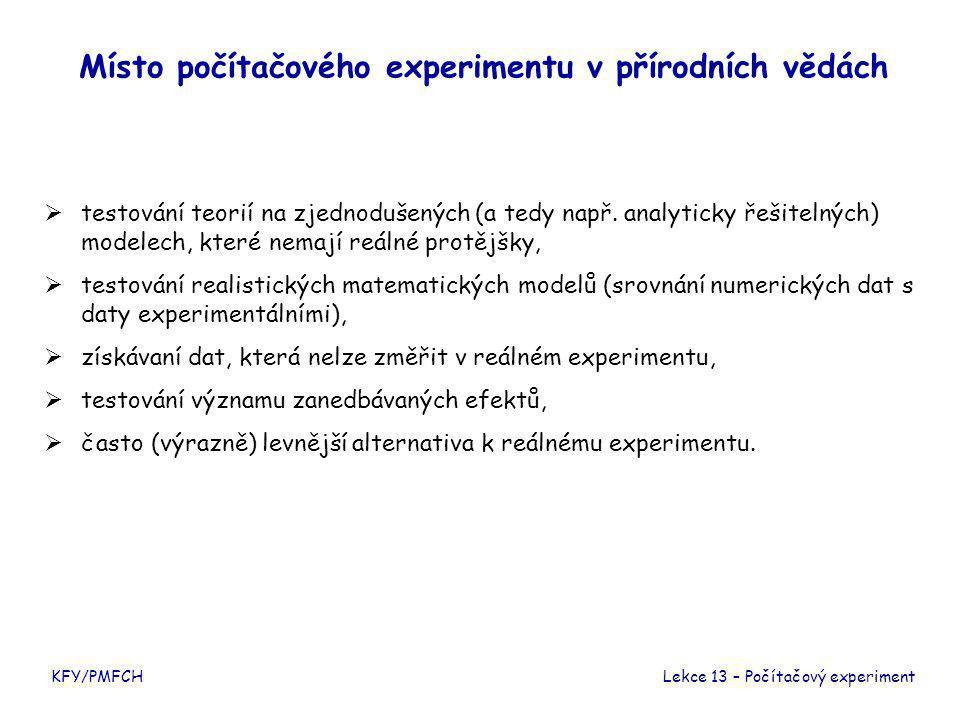 KFY/PMFCH Místo počítačového experimentu v přírodních vědách  testování teorií na zjednodušených (a tedy např.