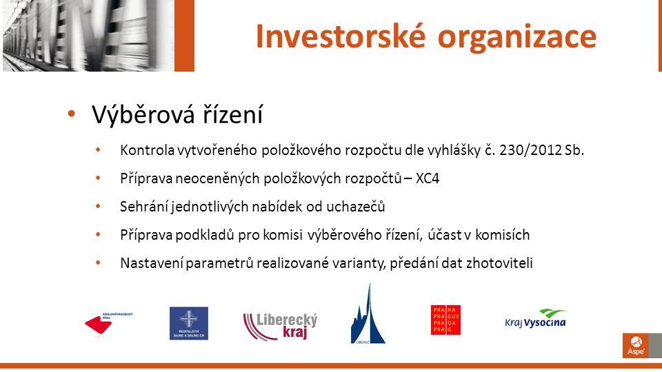 Investorské organizace Výběrová řízení Kontrola vytvořeného položkového rozpočtu dle vyhlášky č. 230/2012 Sb. Příprava neoceněných položkových rozpočt