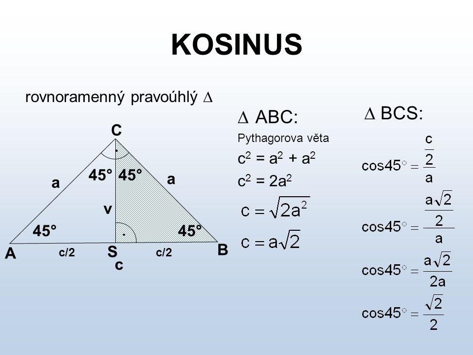 KOSINUS Tabulka důležitých hodnot funkce kosinus  0°30°45°60°90° cos  01