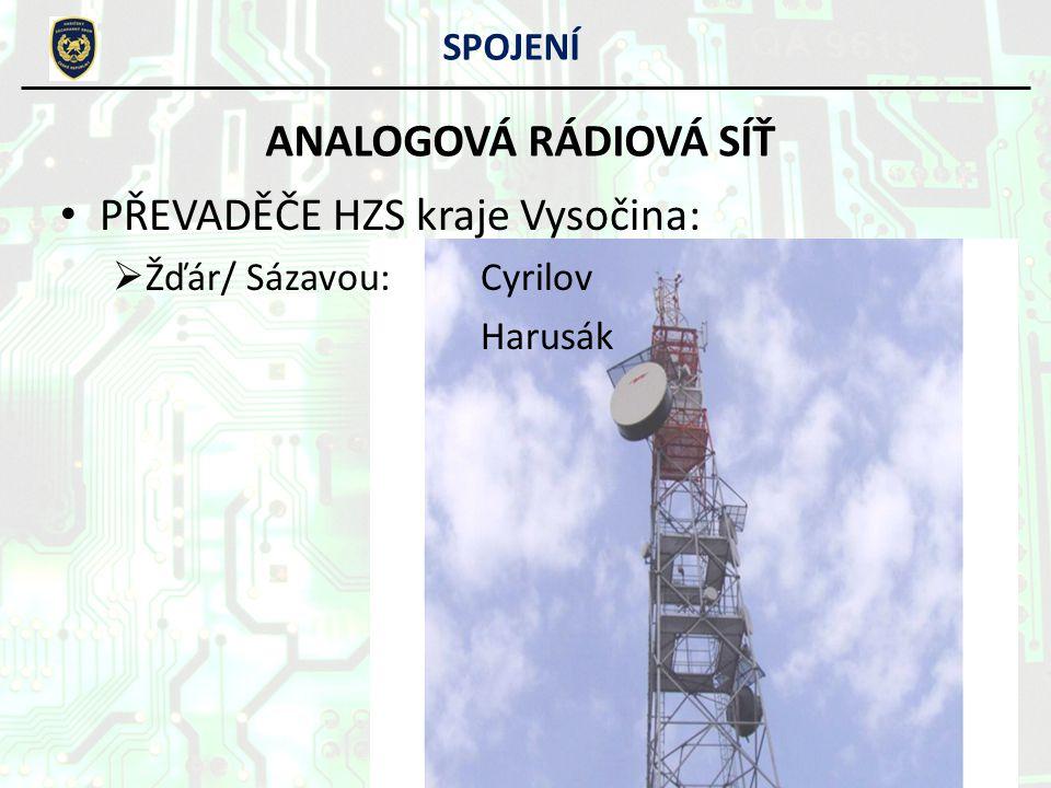 SPOJENÍ ANALOGOVÁ RÁDIOVÁ SÍŤ PŘEVADĚČE HZS kraje Vysočina: ŽŽďár/ Sázavou:Cyrilov Harusák