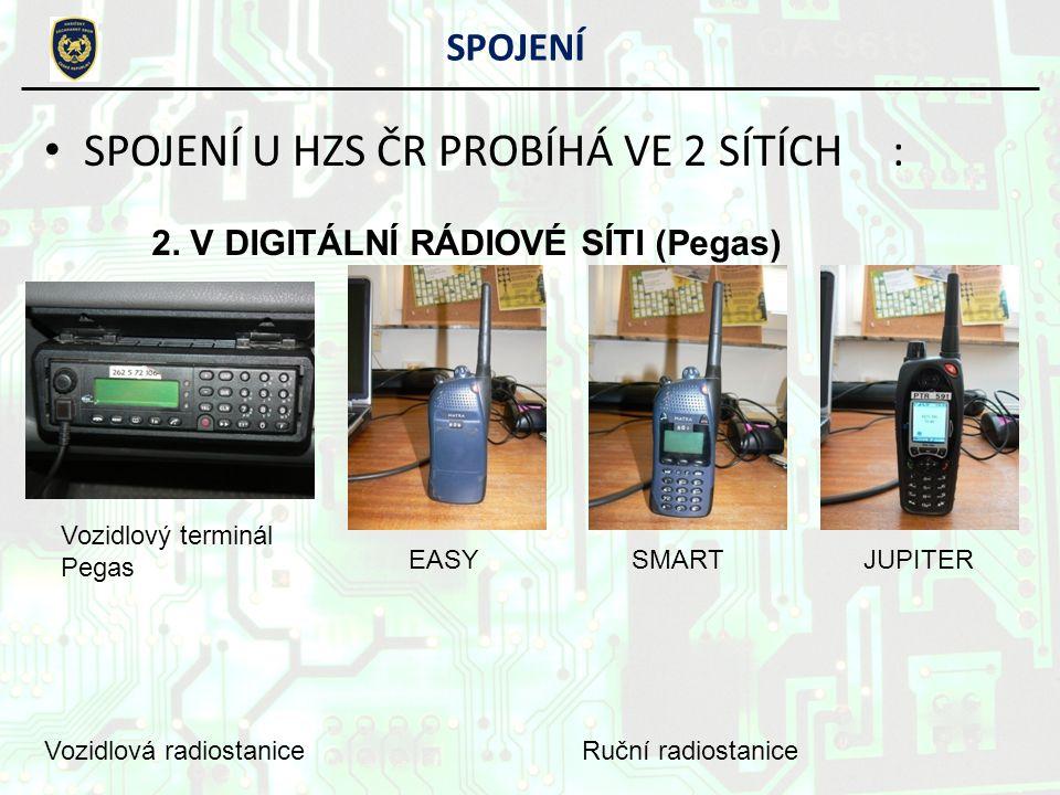 SPOJENÍ U HZS ČR PROBÍHÁ VE 2 SÍTÍCH: SPOJENÍ 2. V DIGITÁLNÍ RÁDIOVÉ SÍTI (Pegas) Vozidlová radiostanice EASYSMARTJUPITER Ruční radiostanice Vozidlový