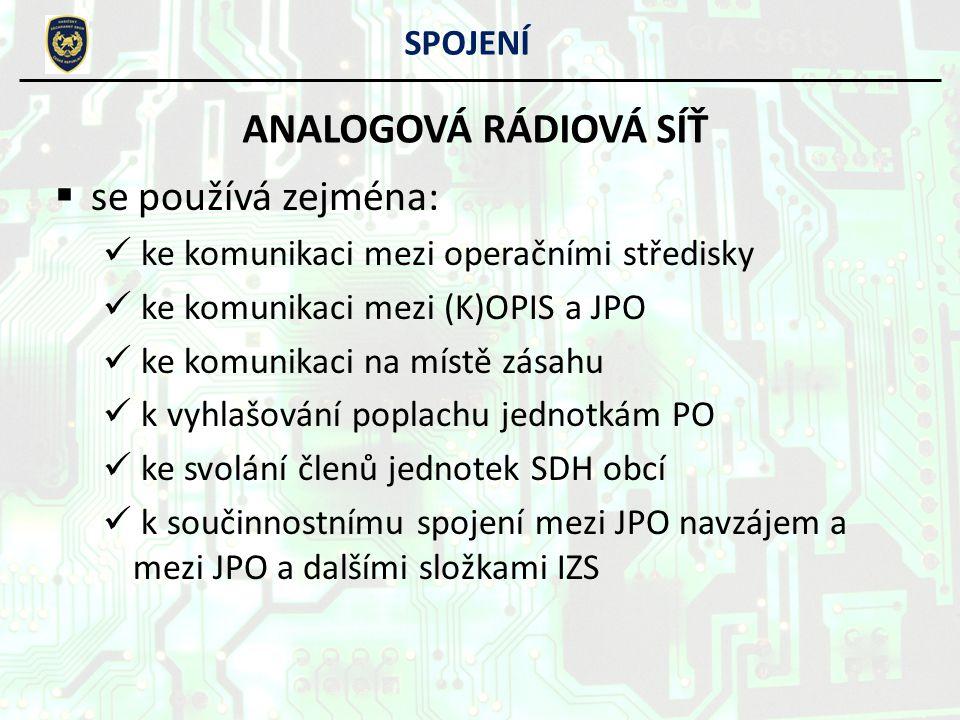 SPOJENÍ ANALOGOVÁ RÁDIOVÁ SÍŤ PŘEVADĚČE HZS kraje Vysočina: JJihlava:Čeřínek Řehořov HHavl.
