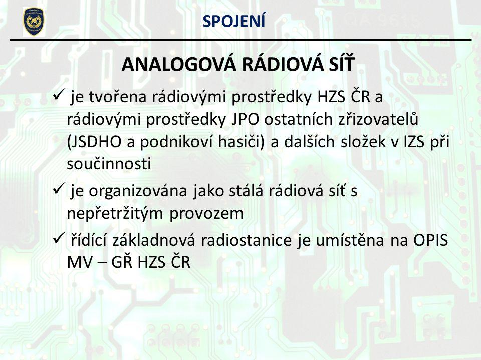je tvořena rádiovými prostředky HZS ČR a rádiovými prostředky JPO ostatních zřizovatelů (JSDHO a podnikoví hasiči) a dalších složek v IZS při součinno