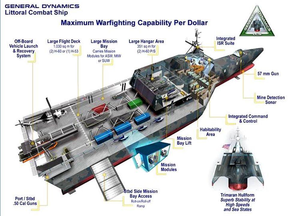 Plavidla LCS mají dosahovat vysokých rychlostí (více než 40 uzlů), nést dva palubní vrtulníky Sikorsky SH60 Seahawk, vzdušné i námořní bezpilotní prostředky a obojživelný výsadek.
