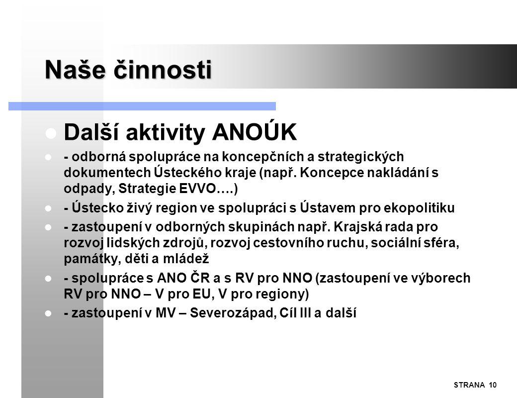 STRANA 10 Naše činnosti Další aktivity ANOÚK - odborná spolupráce na koncepčních a strategických dokumentech Ústeckého kraje (např. Koncepce nakládání