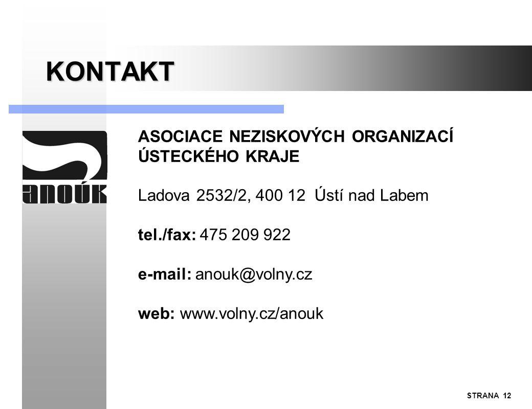 STRANA 12 KONTAKT ASOCIACE NEZISKOVÝCH ORGANIZACÍ ÚSTECKÉHO KRAJE Ladova 2532/2, 400 12 Ústí nad Labem tel./fax: 475 209 922 e-mail: anouk@volny.cz we
