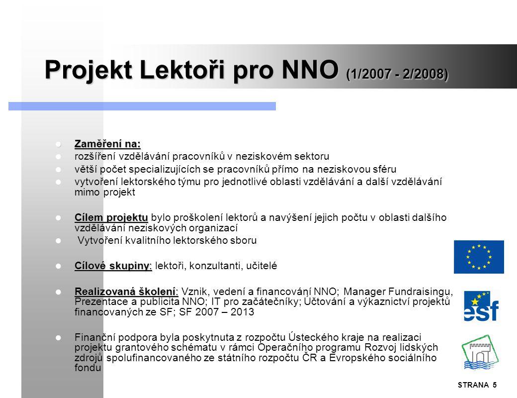 STRANA 5 Projekt Lektoři pro NNO (1/2007 - 2/2008) Zaměření na: Zaměření na: rozšíření vzdělávání pracovníků v neziskovém sektoru větší počet speciali