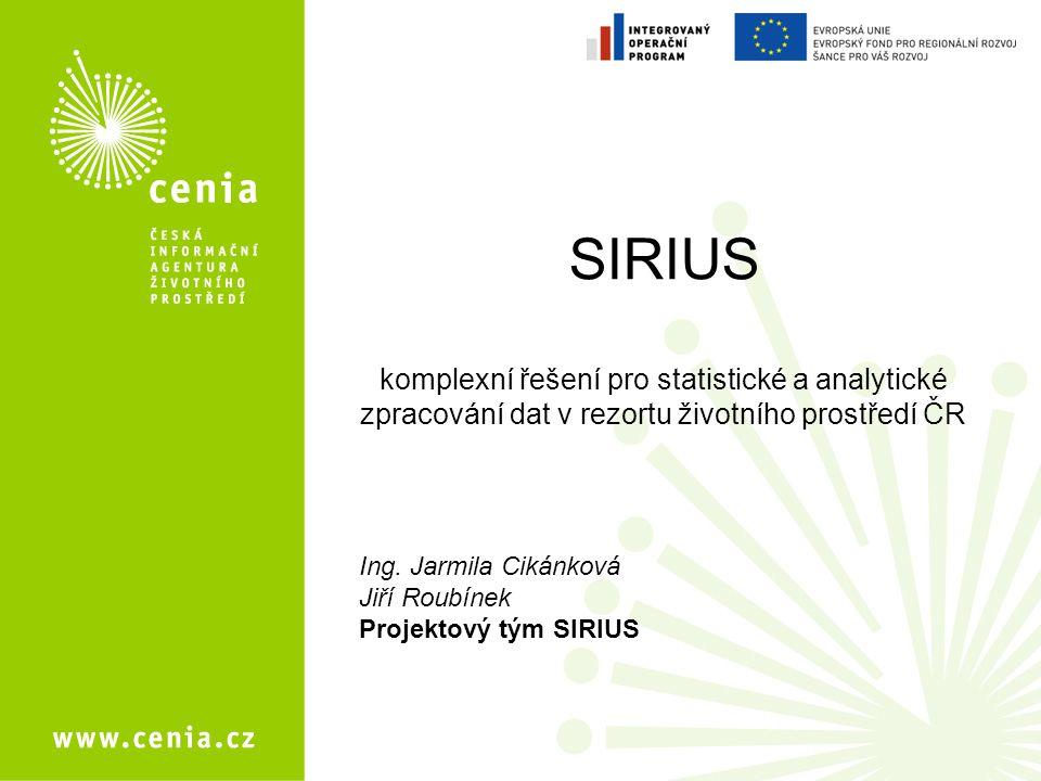 Základní informace SIRIUS – systém integrace a řízení informací z oblasti technické ochrany životního prostředí CZ.1.06/1.100/07.06408 Projekt spolufinancován z Integrovaného operačního programu (Evropský fond pro regionální rozvoj) MV ČR Doba realizace: 1.