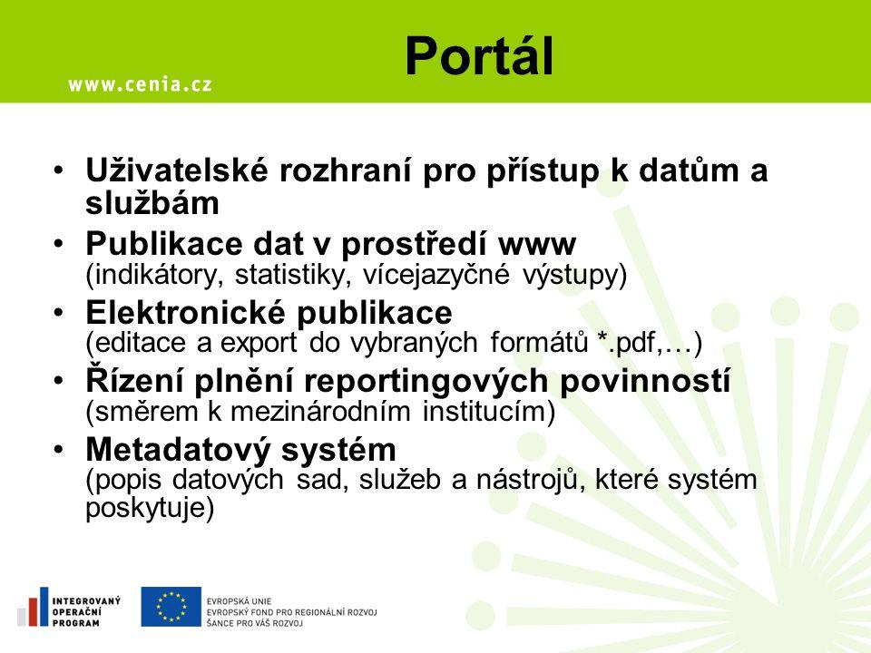 Portál Uživatelské rozhraní pro přístup k datům a službám Publikace dat v prostředí www (indikátory, statistiky, vícejazyčné výstupy) Elektronické publikace (editace a export do vybraných formátů *.pdf,…) Řízení plnění reportingových povinností (směrem k mezinárodním institucím) Metadatový systém (popis datových sad, služeb a nástrojů, které systém poskytuje)