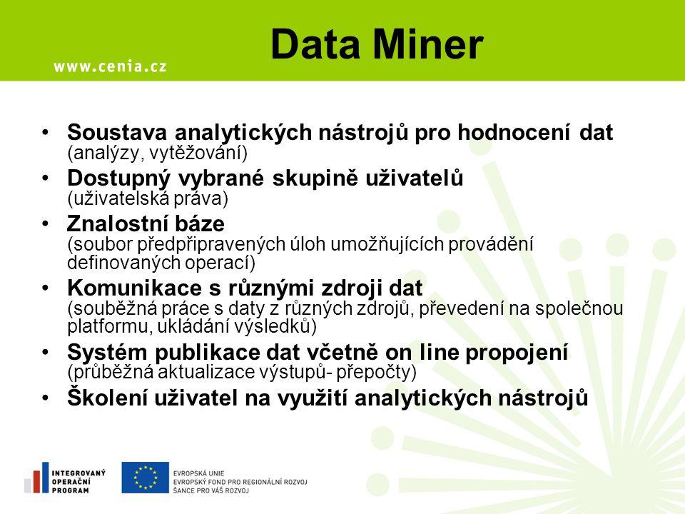 Data Miner Soustava analytických nástrojů pro hodnocení dat (analýzy, vytěžování) Dostupný vybrané skupině uživatelů (uživatelská práva) Znalostní báze (soubor předpřipravených úloh umožňujících provádění definovaných operací) Komunikace s různými zdroji dat (souběžná práce s daty z různých zdrojů, převedení na společnou platformu, ukládání výsledků) Systém publikace dat včetně on line propojení (průběžná aktualizace výstupů- přepočty) Školení uživatel na využití analytických nástrojů