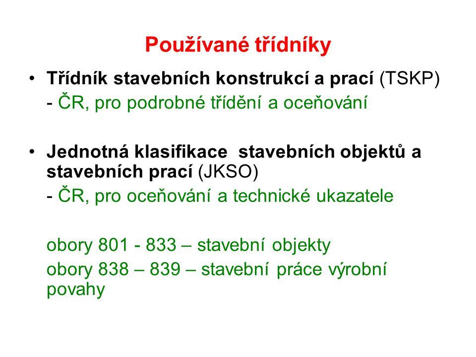 Používané třídníky Třídník stavebních konstrukcí a prací (TSKP) - ČR, pro podrobné třídění a oceňování Jednotná klasifikace stavebních objektů a stave