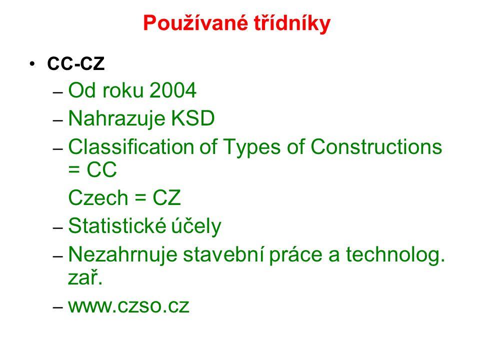 Používané třídníky CC-CZ – Od roku 2004 – Nahrazuje KSD – Classification of Types of Constructions = CC Czech = CZ – Statistické účely – Nezahrnuje st
