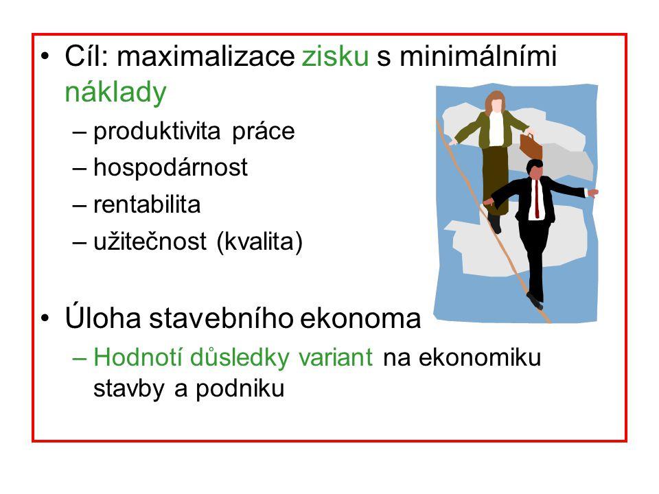 Cíl: maximalizace zisku s minimálními náklady –produktivita práce –hospodárnost –rentabilita –užitečnost (kvalita) Úloha stavebního ekonoma –Hodnotí d