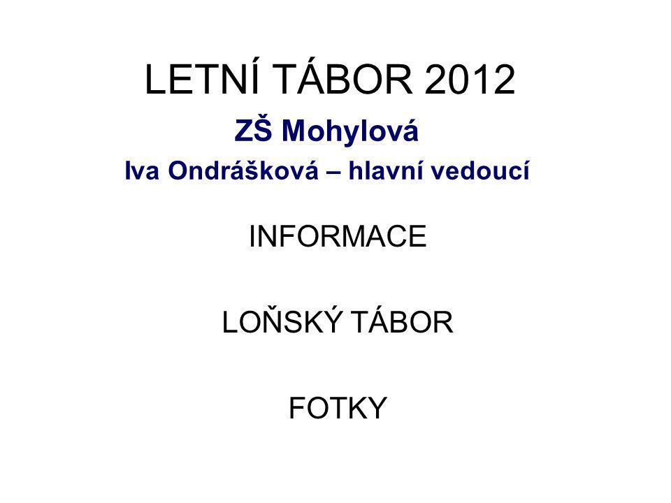 LETNÍ TÁBOR 2012 ZŠ Mohylová Iva Ondrášková – hlavní vedoucí INFORMACE LOŇSKÝ TÁBOR FOTKY