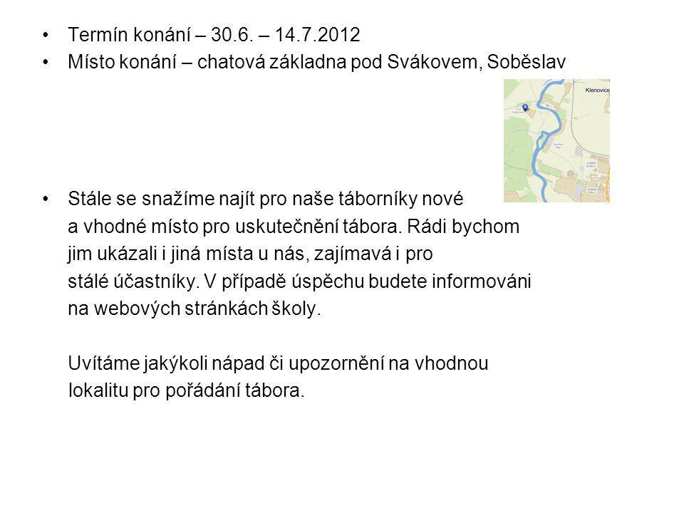 Termín konání – 30.6. – 14.7.2012 Místo konání – chatová základna pod Svákovem, Soběslav Stále se snažíme najít pro naše táborníky nové a vhodné místo