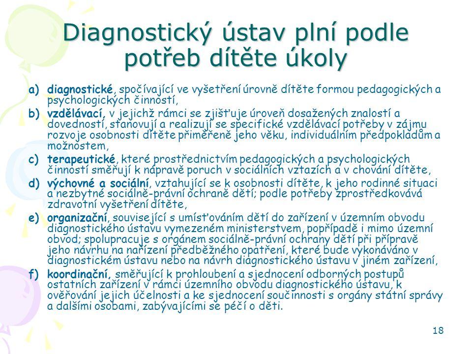 18 Diagnostický ústav plní podle potřeb dítěte úkoly a)diagnostické, spočívající ve vyšetření úrovně dítěte formou pedagogických a psychologických čin