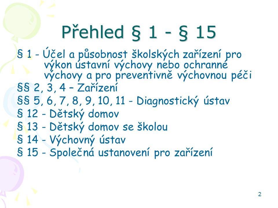 2 Přehled § 1 - § 15 § 1 - Účel a působnost školských zařízení pro výkon ústavní výchovy nebo ochranné výchovy a pro preventivně výchovnou péči §§ 2, 3, 4 – Zařízení §§ 5, 6, 7, 8, 9, 10, 11 - Diagnostický ústav § 12 - Dětský domov § 13 - Dětský domov se školou § 14 - Výchovný ústav § 15 - Společná ustanovení pro zařízení