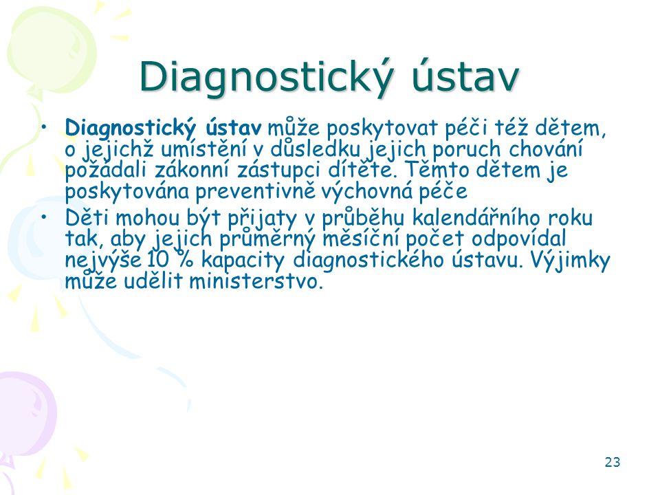 23 Diagnostický ústav Diagnostický ústav může poskytovat péči též dětem, o jejichž umístění v důsledku jejich poruch chování požádali zákonní zástupci dítěte.