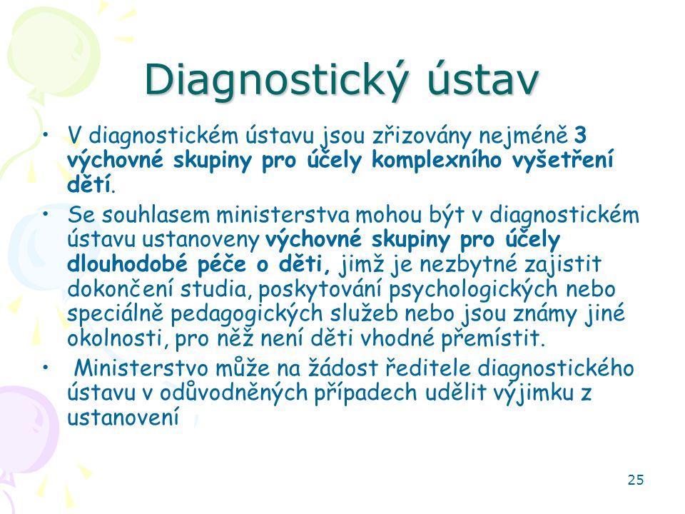 25 Diagnostický ústav V diagnostickém ústavu jsou zřizovány nejméně 3 výchovné skupiny pro účely komplexního vyšetření dětí. Se souhlasem ministerstva