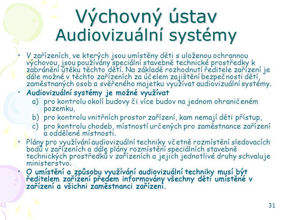 31 Výchovný ústav Audiovizuální systémy V zařízeních, ve kterých jsou umístěny děti s uloženou ochrannou výchovou, jsou používány speciální stavebně technické prostředky k zabránění útěku těchto dětí.
