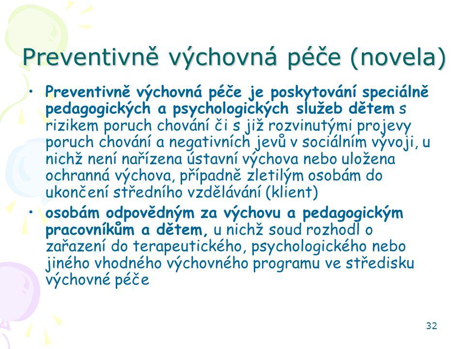 32 Preventivně výchovná péče (novela) Preventivně výchovná péče je poskytování speciálně pedagogických a psychologických služeb dětem s rizikem poruch chování či s již rozvinutými projevy poruch chování a negativních jevů v sociálním vývoji, u nichž není nařízena ústavní výchova nebo uložena ochranná výchova, případně zletilým osobám do ukončení středního vzdělávání (klient) osobám odpovědným za výchovu a pedagogickým pracovníkům a dětem, u nichž soud rozhodl o zařazení do terapeutického, psychologického nebo jiného vhodného výchovného programu ve středisku výchovné péče