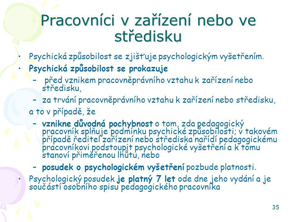 35 Pracovníci v zařízení nebo ve středisku Psychická způsobilost se zjišťuje psychologickým vyšetřením.