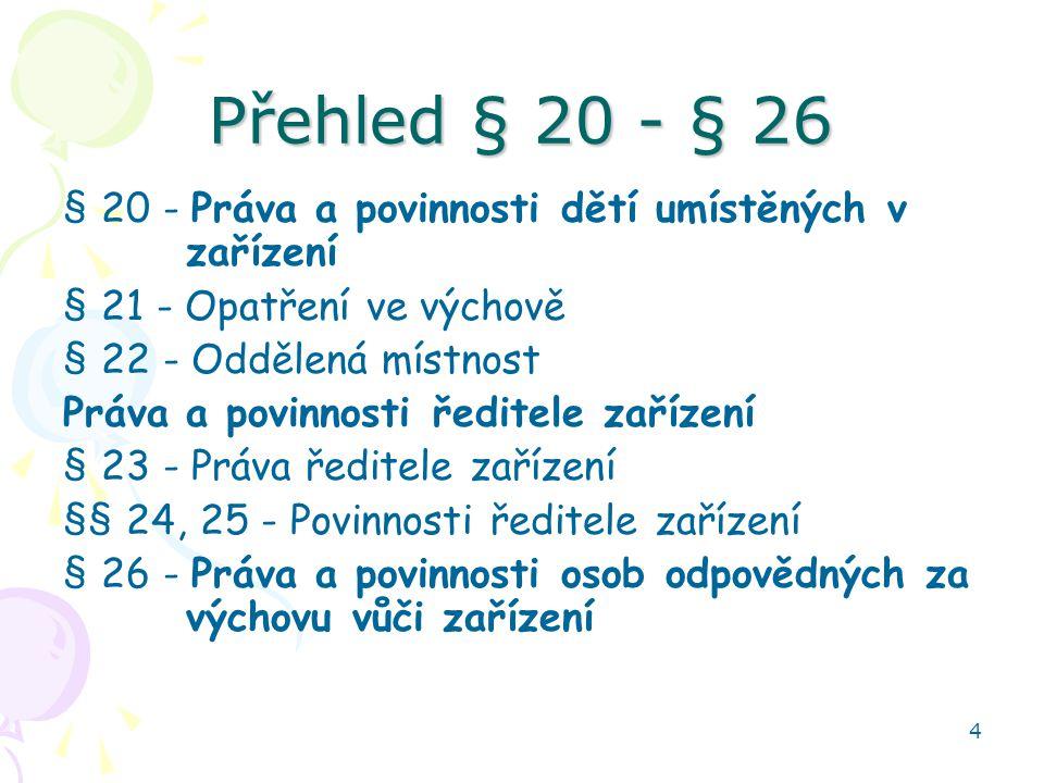 4 Přehled § 20 - § 26 § 20 - Práva a povinnosti dětí umístěných v zařízení § 21 - Opatření ve výchově § 22 - Oddělená místnost Práva a povinnosti ředi