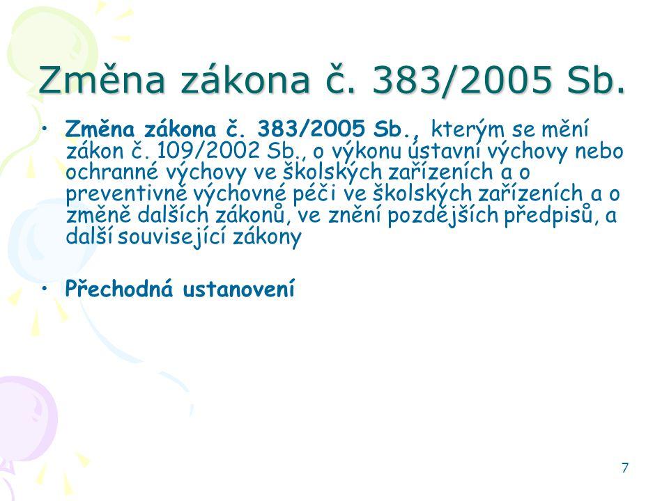 7 Změna zákona č.383/2005 Sb. Změna zákona č. 383/2005 Sb., kterým se mění zákon č.