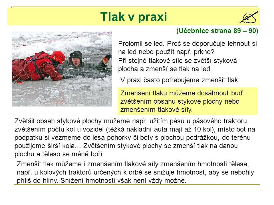 (Učebnice strana 89 – 90) Tlak v praxi Prolomil se led.