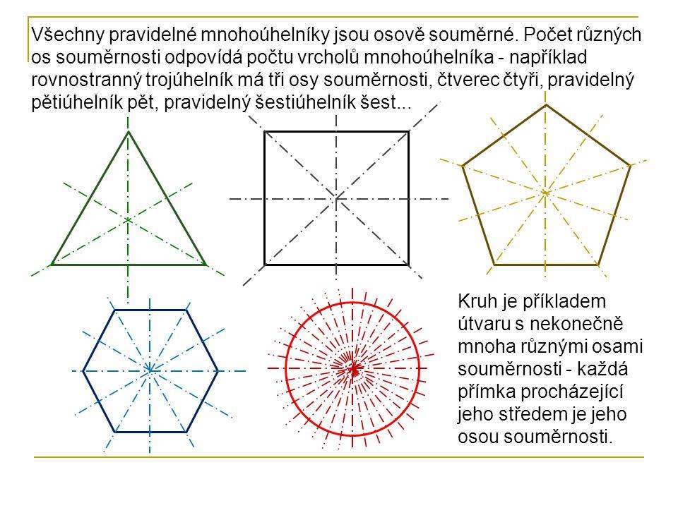 Všechny pravidelné mnohoúhelníky jsou osově souměrné. Počet různých os souměrnosti odpovídá počtu vrcholů mnohoúhelníka - například rovnostranný trojú
